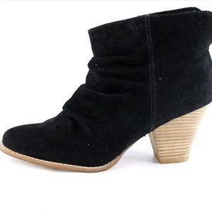 Splendid Black Suede Scrunch Ankle Boot Wood Heel
